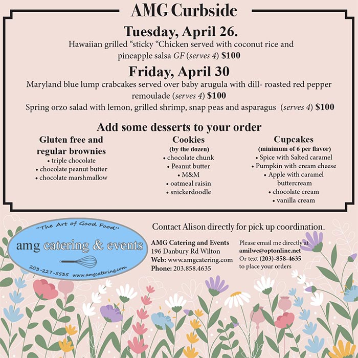 Curbside pickup menu from AMG Catering of Fairfield Cty Connecticut